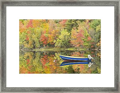 Small Motor Boat In Fall Torsey Pond Readfield Maine Framed Print by Keith Webber Jr