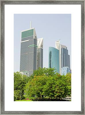 Small Park And Downtown Skyline Framed Print by Michael Defreitas