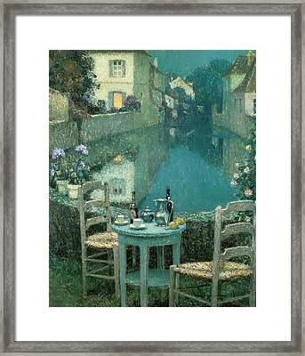 Small Table In Evening Dusk Framed Print