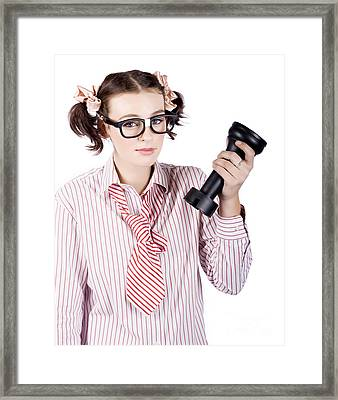 Smart Business Woman Devising Marketing Plan Framed Print by Jorgo Photography - Wall Art Gallery