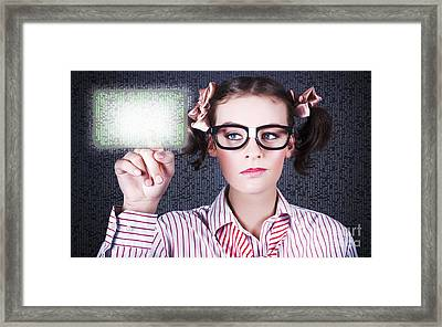 Smart Business Woman Pressing Digital Touch Screen Framed Print