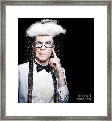 Smart Person Brainstorming Thought With Rain Cloud Framed Print