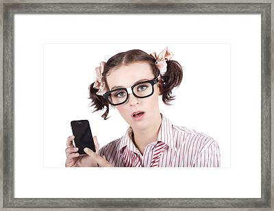 Smart Woman Accessing Mobile Phone Apps Framed Print by Jorgo Photography - Wall Art Gallery