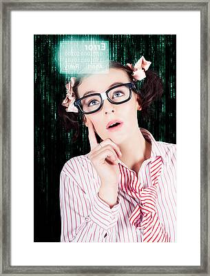 Smart Woman Hacking Network Access Code Framed Print by Jorgo Photography - Wall Art Gallery