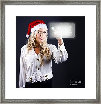 Smart Woman Shopping Online For Christmas Presents Framed Print
