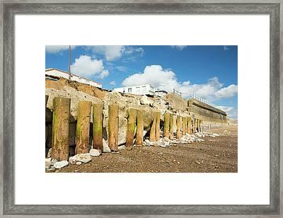 Smashed Concrete Sea Defences Framed Print by Ashley Cooper