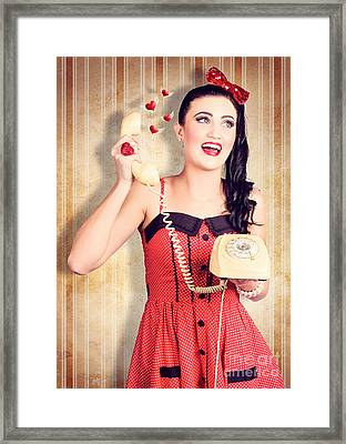 Smiling Beautiful Woman In Love Talking On Phone Framed Print