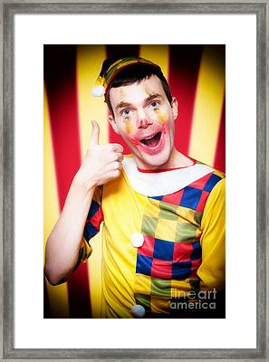 Smiling Circus Clown Standing Inside Bigtop Tent Framed Print by Jorgo Photography - Wall Art Gallery