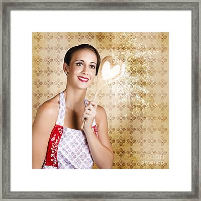 Smiling Female Cook Baking Cake With Sweet Love Framed Print by Jorgo Photography - Wall Art Gallery