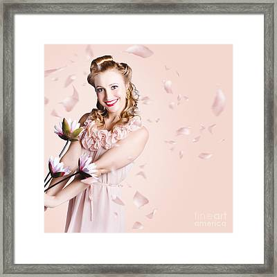 Smiling Flower Girl Dancing In Spring Petal Rain Framed Print by Jorgo Photography - Wall Art Gallery