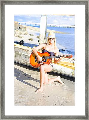 Smiling Girl Strumming Guitar At Tropical Beach Framed Print by Jorgo Photography - Wall Art Gallery