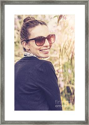 Smiling Happy Australian Tourist In Countryside Framed Print by Jorgo Photography - Wall Art Gallery