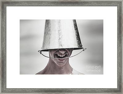 Smiling Man Laughing With Ice Bucket On Head Framed Print