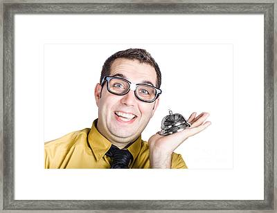 Smiling Man With Bell Framed Print by Jorgo Photography - Wall Art Gallery