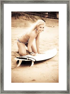 Smiling Retro Surfer Framed Print by Jorgo Photography - Wall Art Gallery