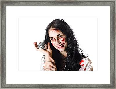 Smiling Sinister Woman Giving Bad Service Framed Print