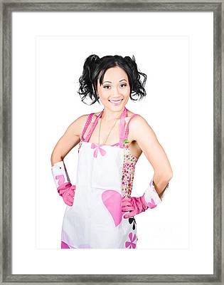 Smiling Spring Cleaning Woman. Isolated Housework  Framed Print