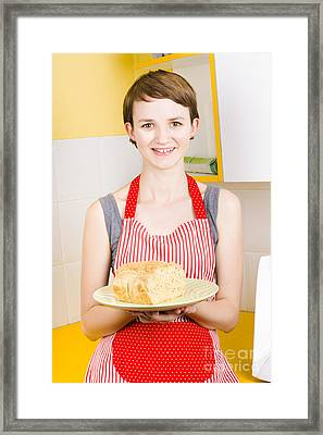 Smiling Woman Holding Fresh Loaf Of Homemade Bread Framed Print by Jorgo Photography - Wall Art Gallery