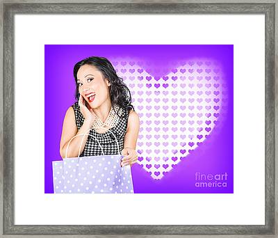 Smiling Woman With A Valentines Day Gift Bag Framed Print