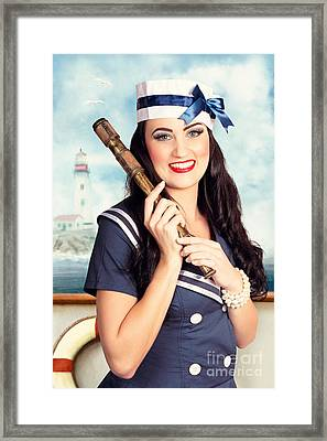 Smiling Young Pinup Sailor Girl. American Navy Framed Print by Jorgo Photography - Wall Art Gallery