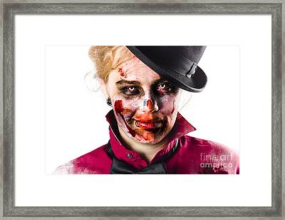 Smiling Zombie Woman Framed Print