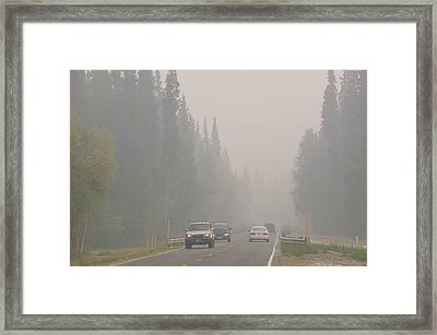 Smoke Hangs Over Burnt Out Forest Framed Print by Ashley Cooper