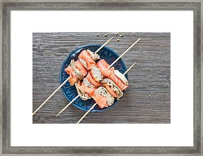 Smoked Salmon And Grilled Artichoke Framed Print