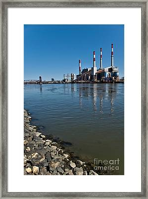 Smokestacks Near Randall Island Framed Print by Amy Cicconi