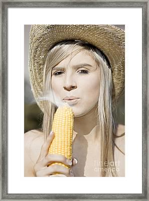 Smoking Hot Corn Cob Woman Framed Print by Jorgo Photography - Wall Art Gallery