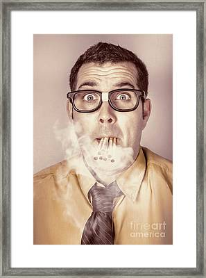 Smoking Nerd Businessman Under Work Stress Framed Print