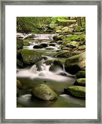 Smoky Mountain Stream Framed Print by Cindy Haggerty