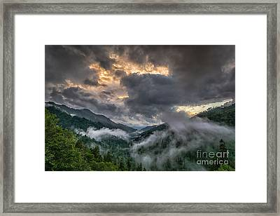 Framed Print featuring the photograph Smoky Sunset by Sophie Doell