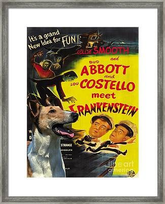 Smooth Collie Art Canvas Print - Abbott And Costello Movie Poster Framed Print by Sandra Sij