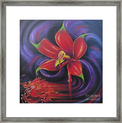 Framed Print featuring the painting Snap Dragon by S G