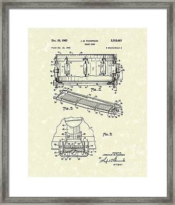 Snare Drum 1963 Patent Art Framed Print by Prior Art Design