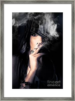 Sneaky Smoke Framed Print