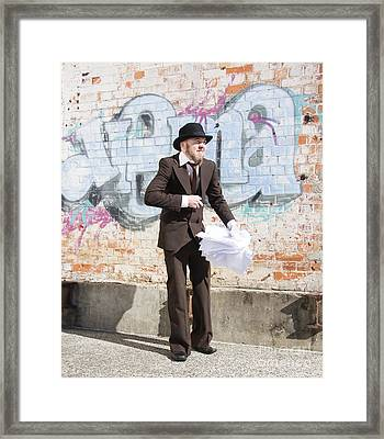 Sniggering Salesman Framed Print by Jorgo Photography - Wall Art Gallery