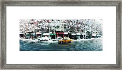 Snow Covered Cars Parked On The Street Framed Print