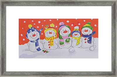 Snow Family  Framed Print by Diane Matthes