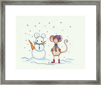 Snow Mouse And Friend Framed Print by Sarah LoCascio