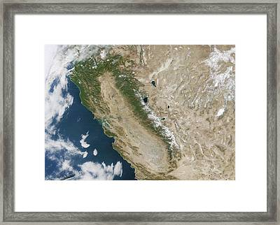 Snow On The Sierra Nevada Framed Print by Nasa