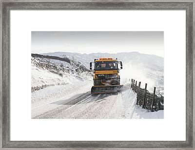 Snow Plough At Work Framed Print