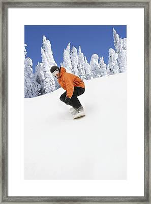 Snowboarder Going Down Snowy Hill Framed Print by Leah Hammond