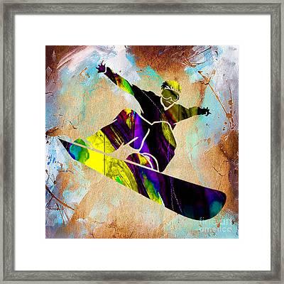 Snowboarder Framed Print by Marvin Blaine