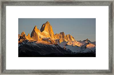 Snowcapped Mountain Range, Mt Fitzroy Framed Print by Panoramic Images