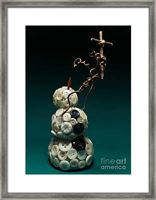 Snowman Holding Christian Cross Christmas Card Framed Print