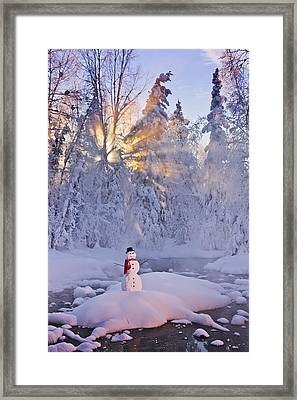 Snowman Standing On A Small Island Framed Print