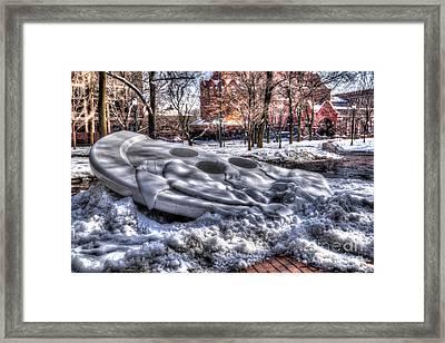 Snowy Button - Upenn Framed Print by Mark Ayzenberg