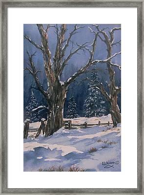 Snowy Fence Framed Print
