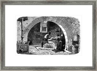 Soap Factory Workers Framed Print by Science Photo Library